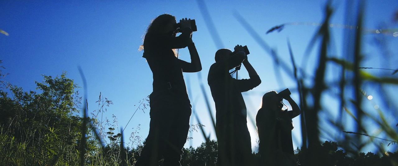 observers with binoculars