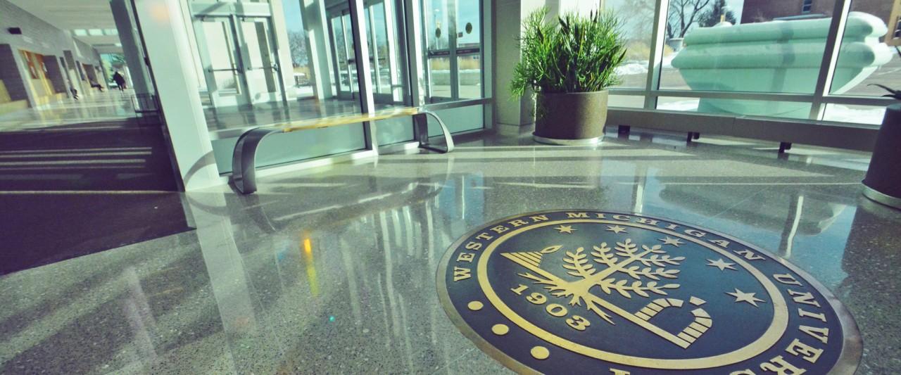 WMU seal in the lobby of Sangren Hall