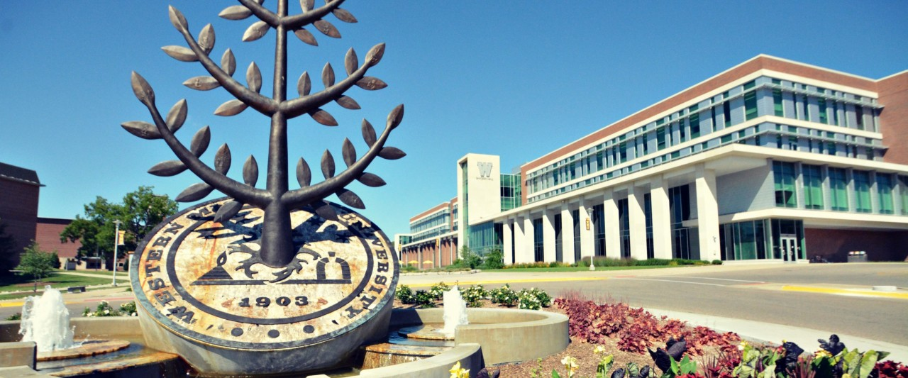 WMU seal statue in front of Sangren Hall