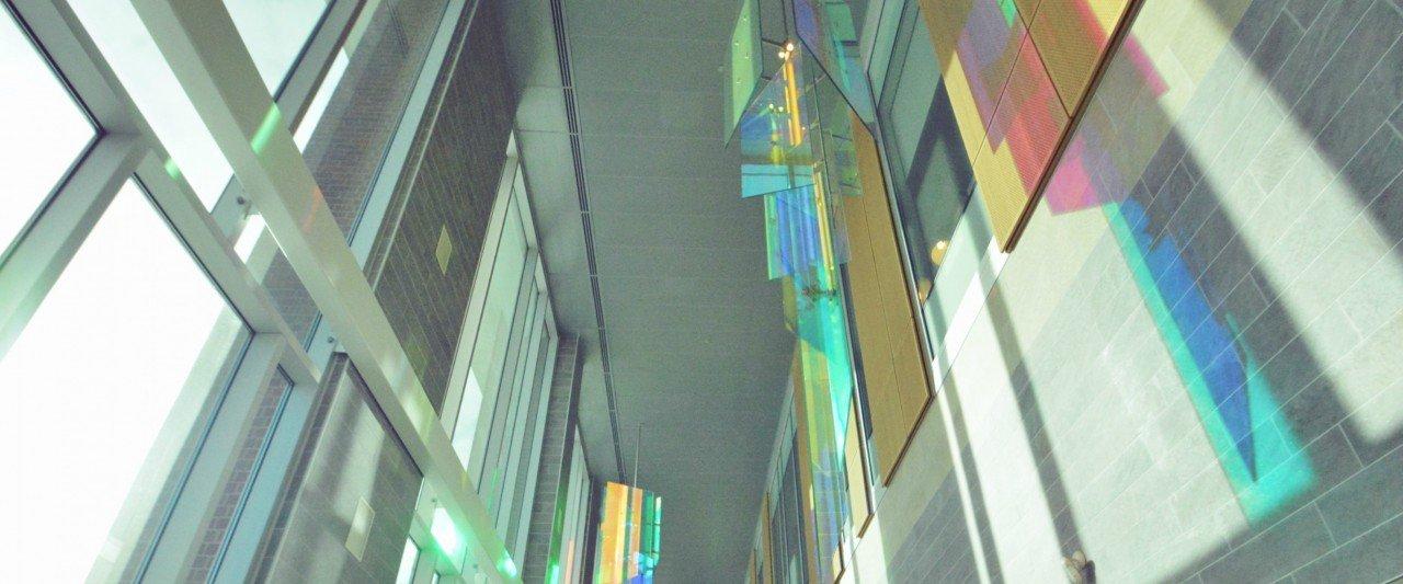 hanging glass art in sangren hall