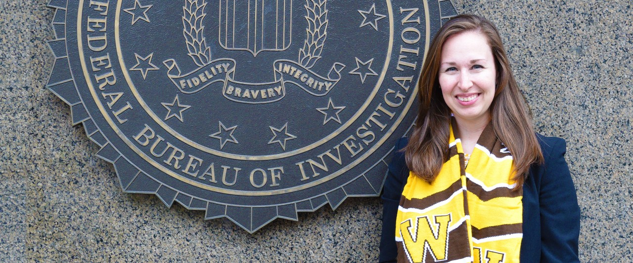 Emily Hawrysz stands in front of the F.B.I. building in Washington, DC