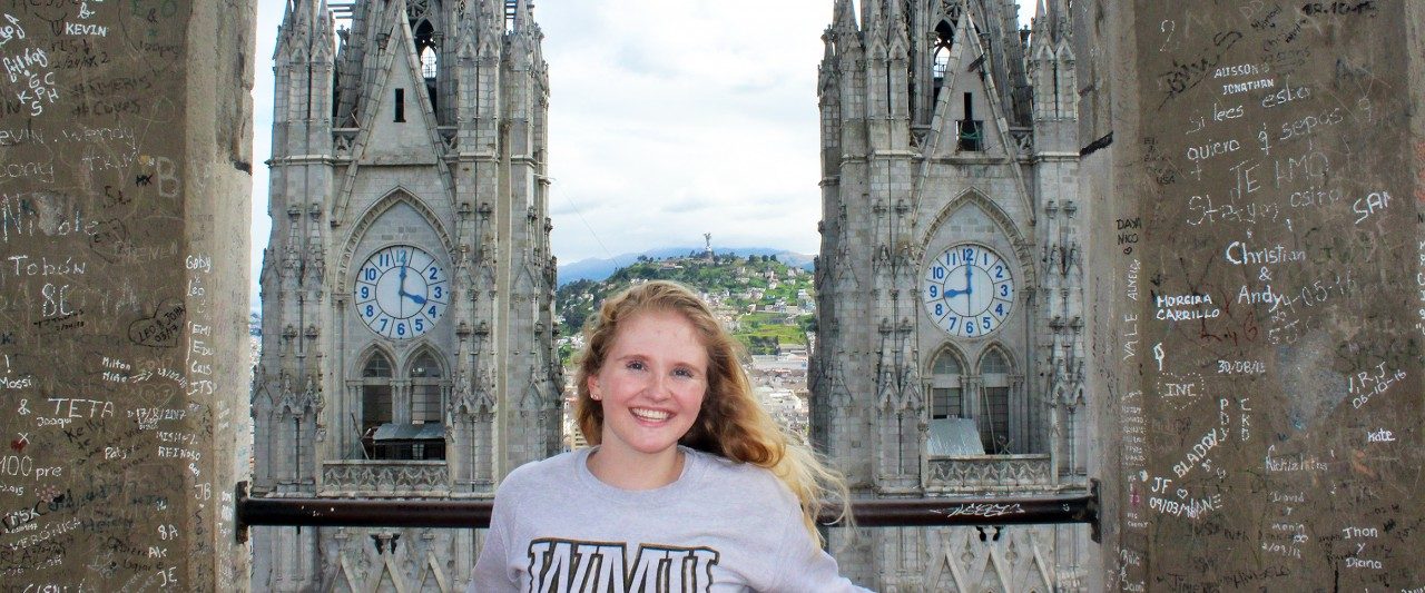 "Jessica Poling at the top of the Cathedral of Quito (Catedral de Quito) with ""El Pancillo"" in the far background."