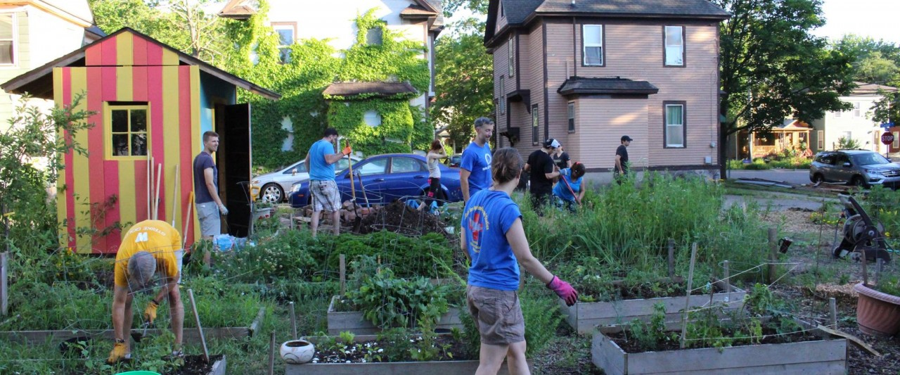 Students working in an urban garden.