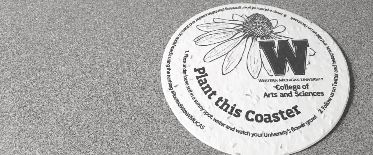 Seed coaster on table