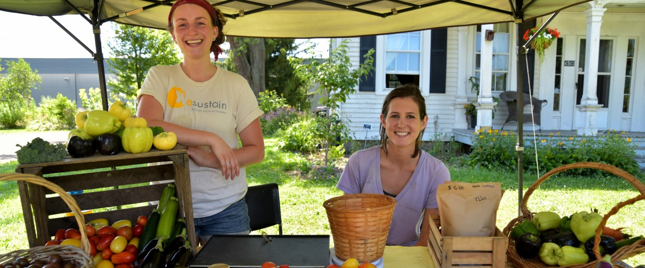 Photo of students selling produce at a farm stand.