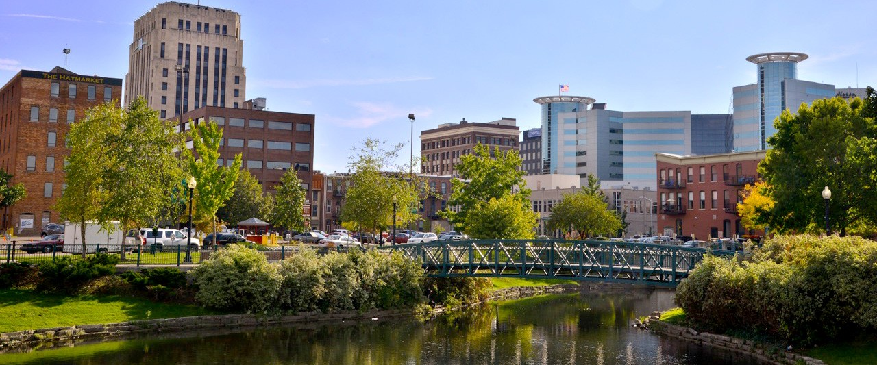 Photo of Arcadia Creek in downtown Kalamazoo.