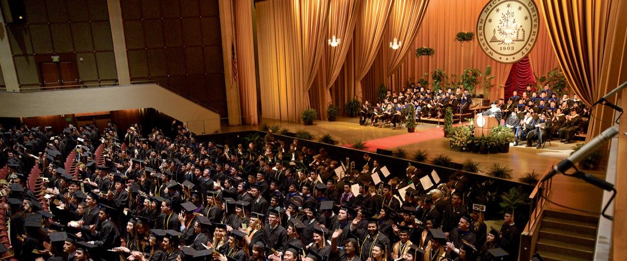Photo of a commencement ceremony in Miller Auditorium.