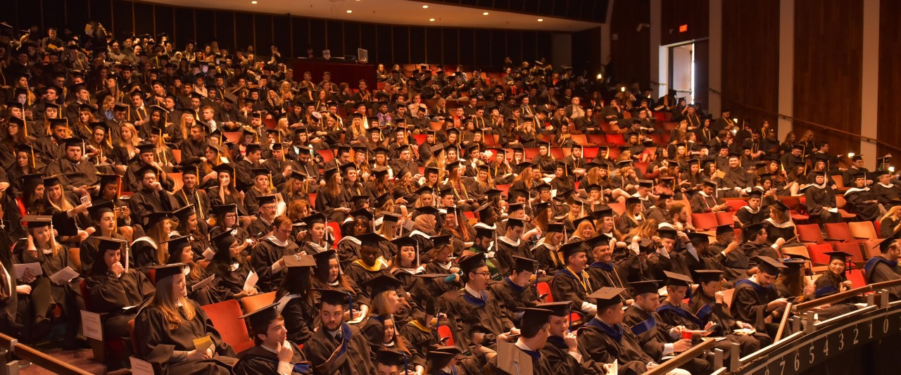 Photo of graduating WMU students seated in Miller Auditorium.