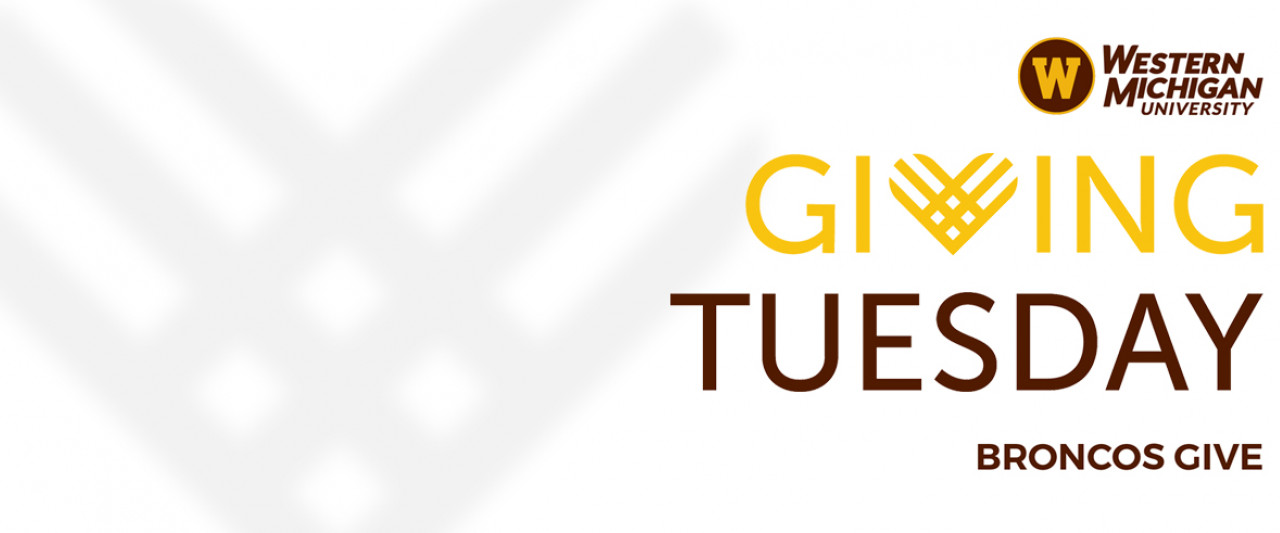 Western Michigan University logo, Giving Tuesday broncos give