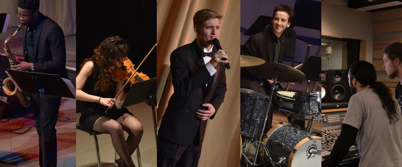 collage of male saxophonist, female violinist, male singer, male drummer, and two audio engineers