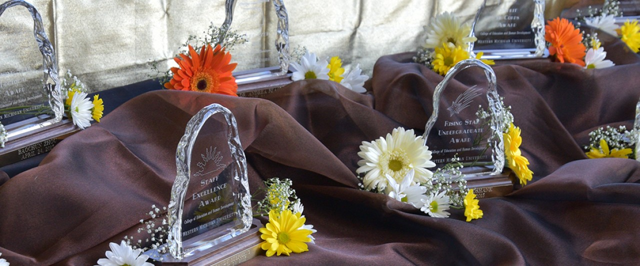 close-up image of glass awards on a table