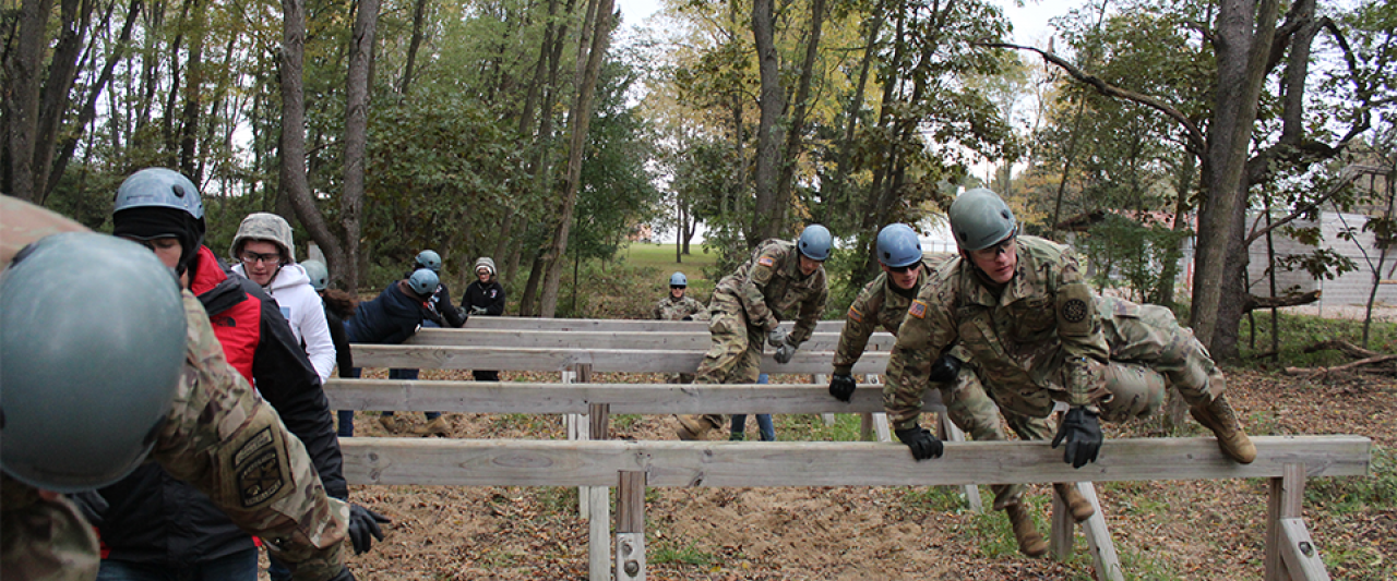 Cadets completing the obstacle course