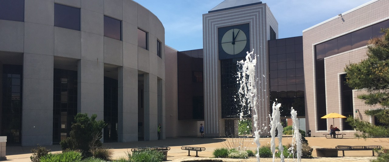 Campus fountain by Waldo Library