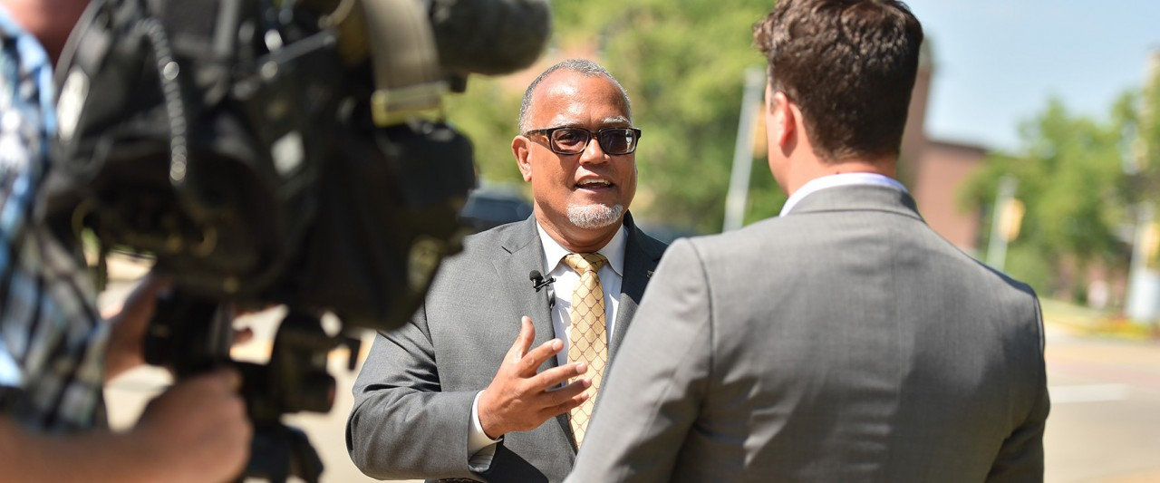 Montgomery being interviewed by a television station