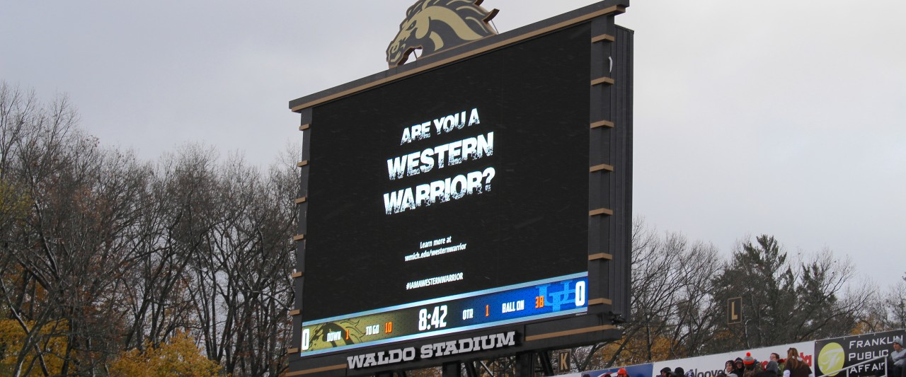 The Western Warrior logo on Waldo Stadium's jumbotron