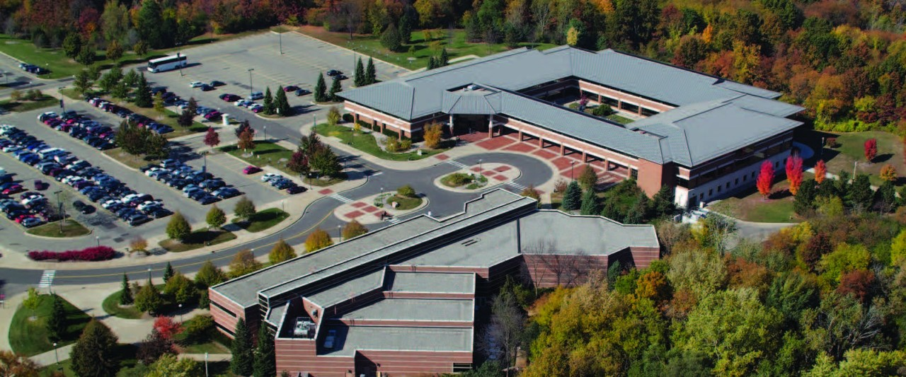 Aerial view of Schneider hall and Fetzer Center