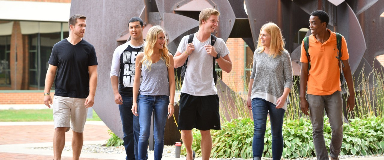 Students walking in courtyard