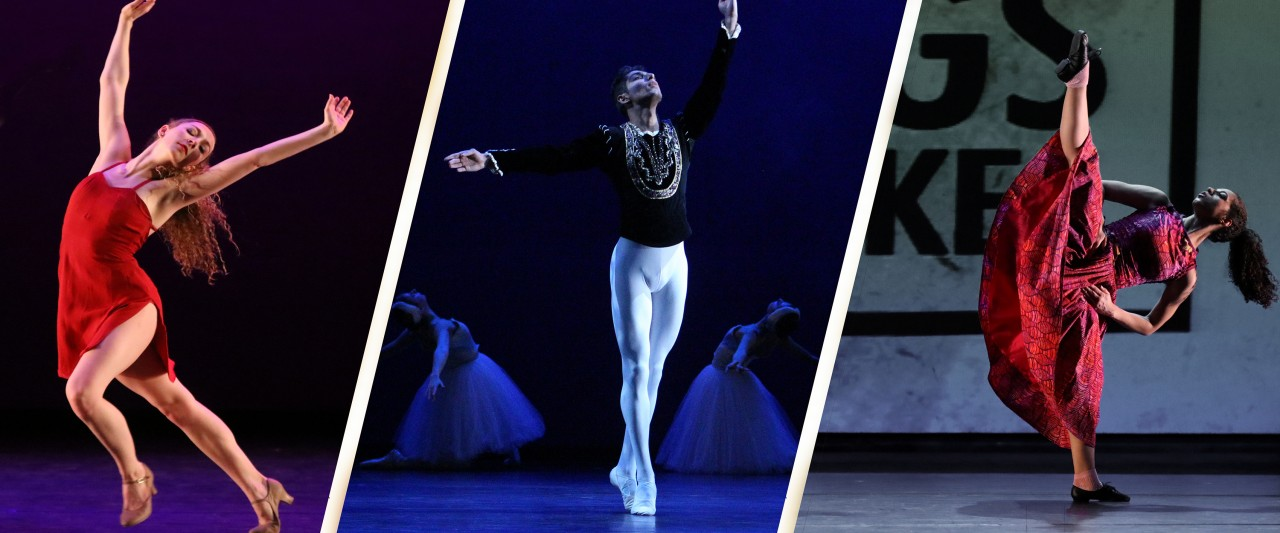Photo showing ballet, jazz, and modern technique dancers