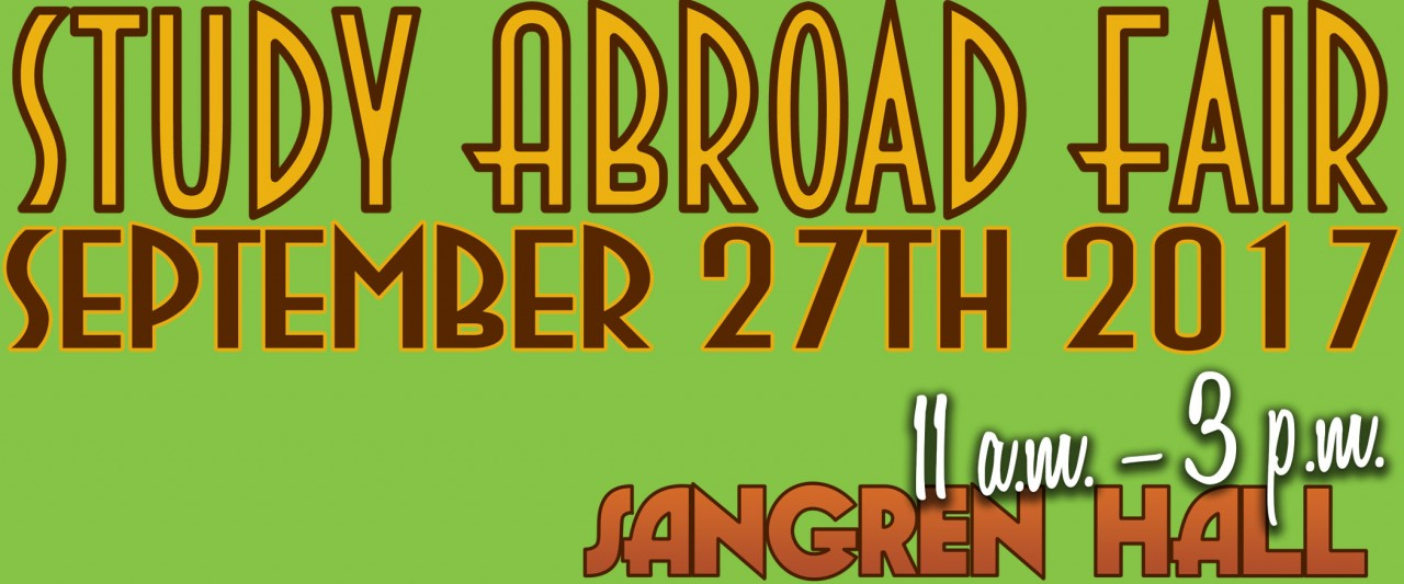 Don't miss this year's Study Abroad Fair in Sangren Hall on Wednesday, September 27th starting at 11 a.m.!