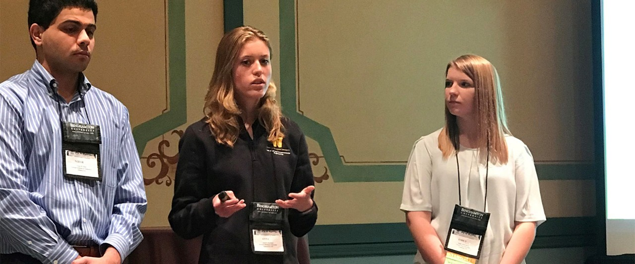 Anna Konstant presents during the pitch competition at the Institute of Industrial and Systems Engineers national conference