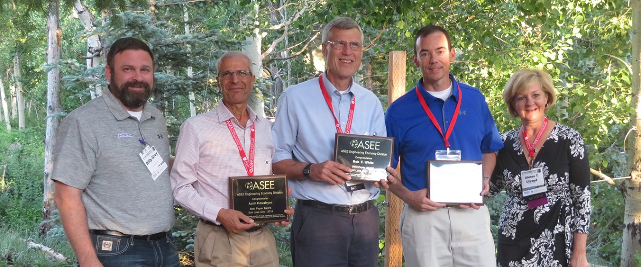 Dr. Bob White, Dr. Azim Houshyar and Dr. Jim Burns -- who received an award for the Best Paper in the Engineering Economy Division at the American Society for Engineering Education annual conference in Salt Lake City.