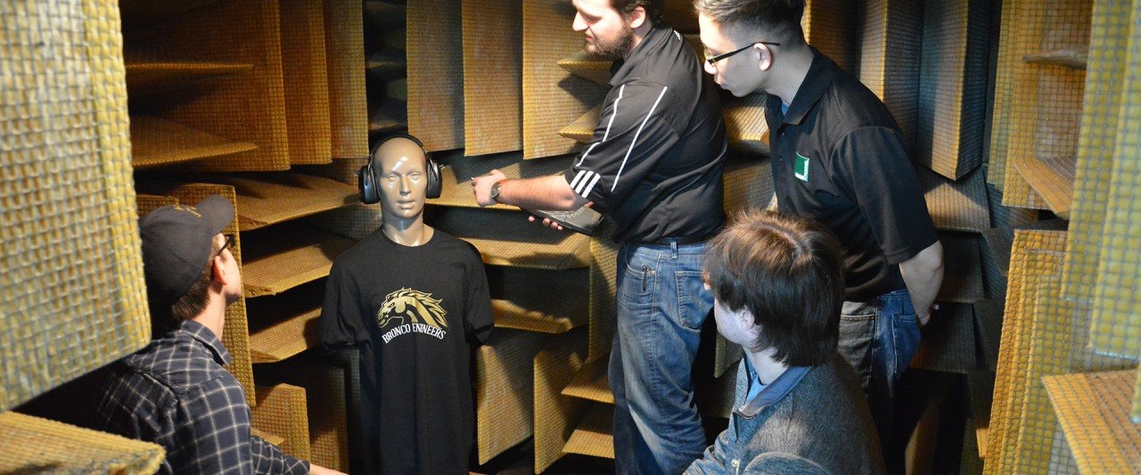 Students inside the fully-anechoic test chamber