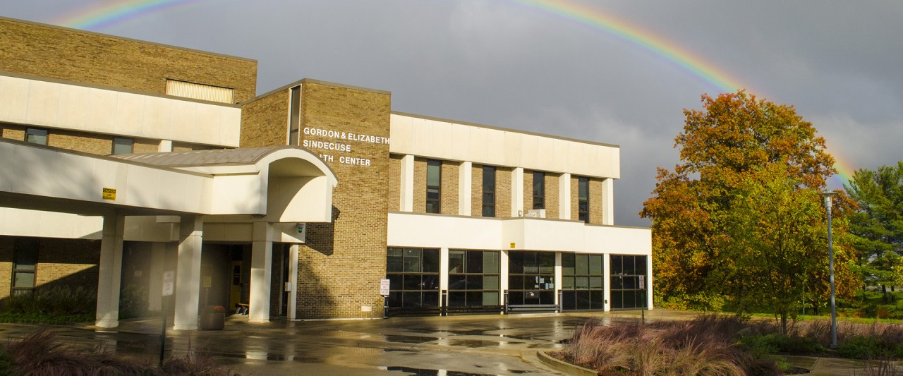 photo of Rainbow over Sindecuse Health Center