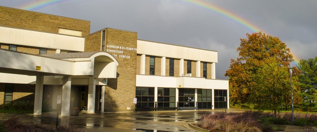 photo of Rainbow over Sindecuse Health Center