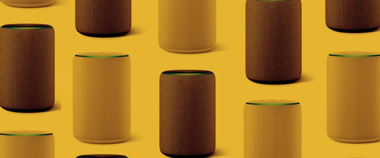 smart speaker images collage