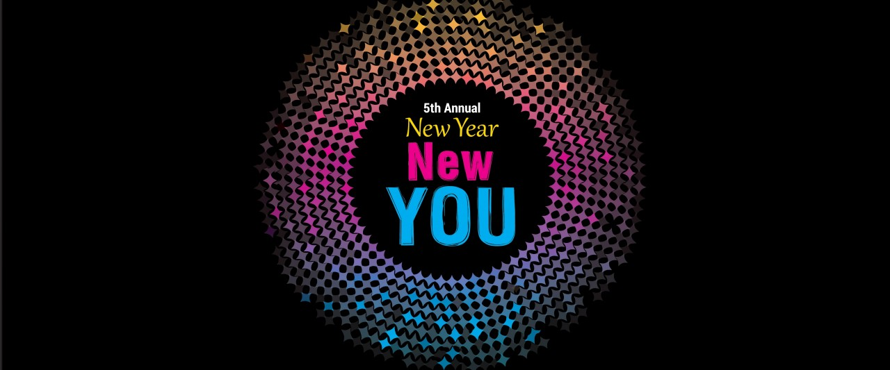Fifth Annual New Year, New YOU logo that is a colorful neon disco ball of light radiating colors and celebrating health and wellness