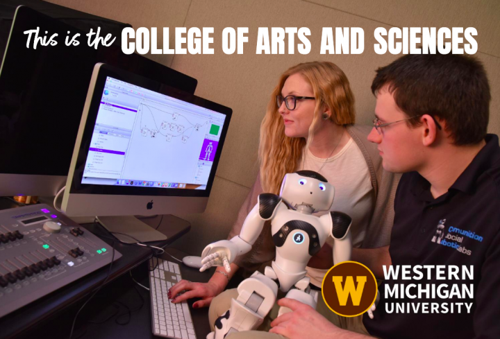 """2020 College of Arts and Sciences viewbook cover. """"This is the College of Arts and Sciences"""" """"Western Michigan University"""""""