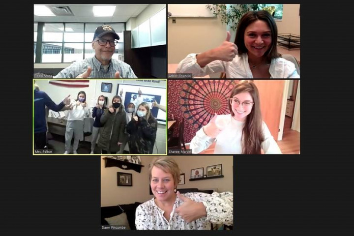 Screen shot of Zoom meeting featuring faculty and students
