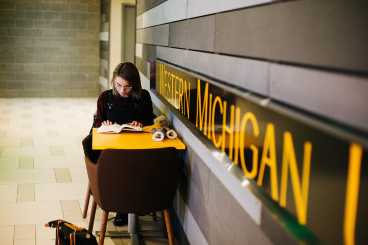 Student studying at desk. Wall says Western Michigan