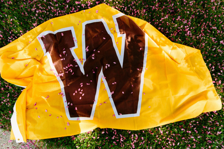 WMU gold flag with brown W