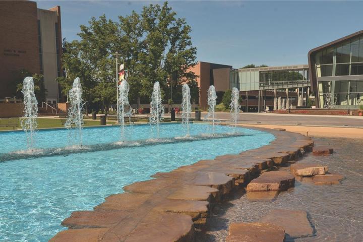 Miller Fountain in the sunshine