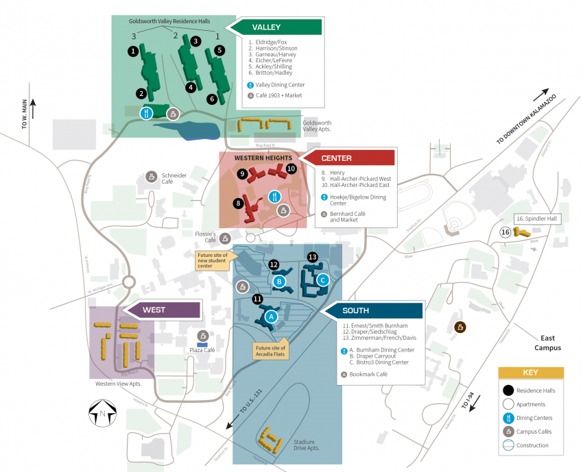 2019 Dining Services Campus Map