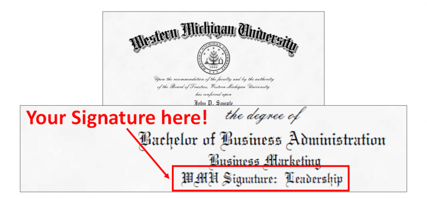 WMU Signature designation: diploma example