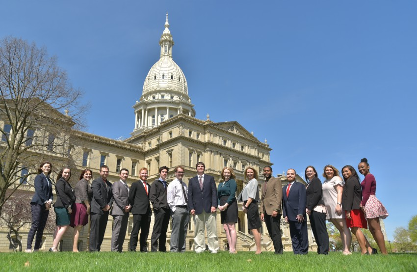 Group of 17 WMU students who are in the Capital Intern program at WMU stand outside the Capitol Building in Lansing, MI