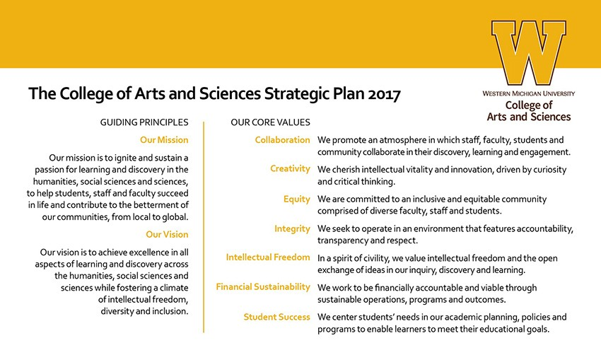 Strategic Planning  College Of Arts And Sciences  Western Michigan