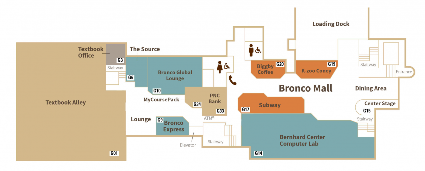 Map of lower level that depicts the location of the businesses listed below.