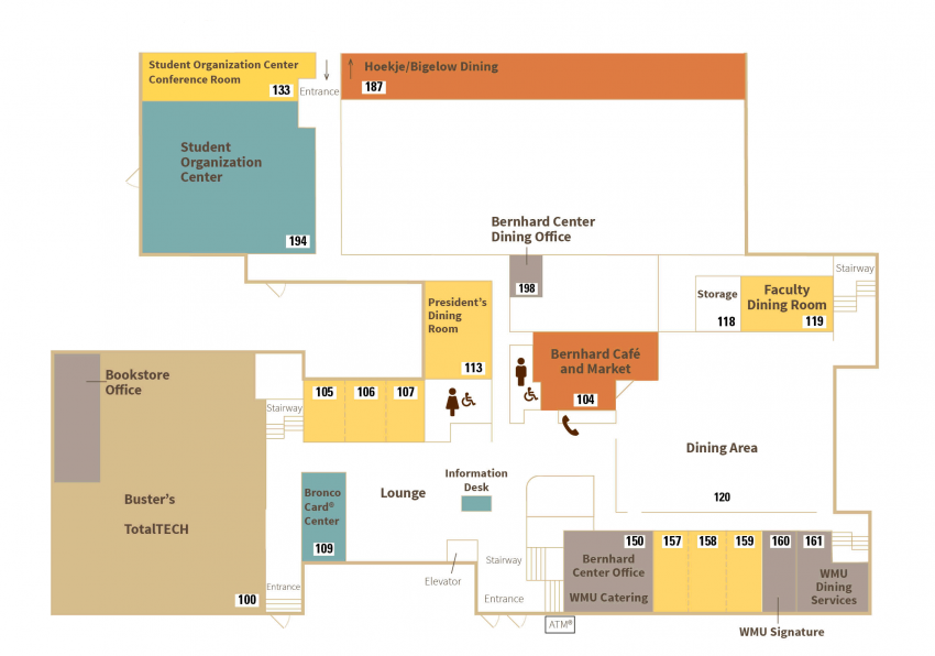 Map of main level that depicts the location of the businesses listed below.