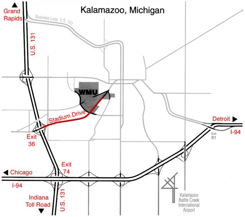 Map of Kalamazoo, Mich. showing WMU at the corner of Howard St. and Stadium Dr.
