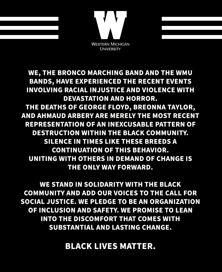Black Lives Matter statement from the Marching Band.