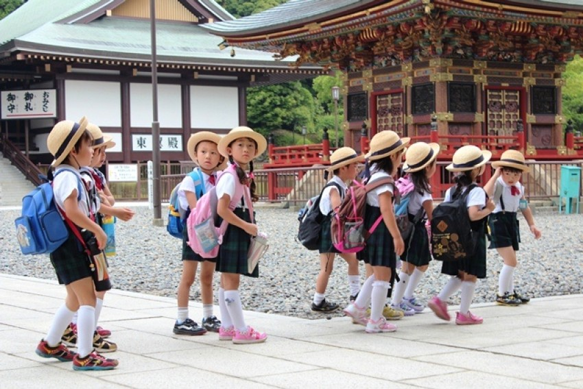 Young students in Narita, Japan.