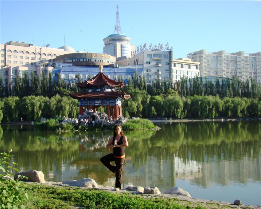 Person doing yoga in Inner Mongolia, China.