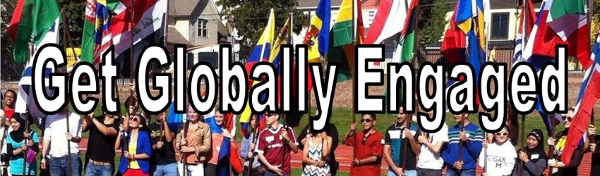 Get globally engaged over photo of students carrying flags