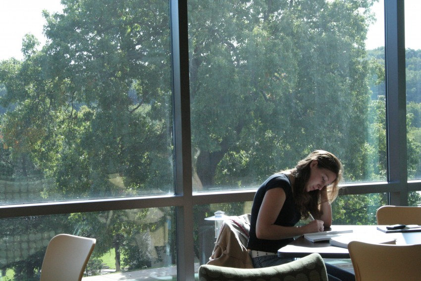 Student studying in the Clifford Center