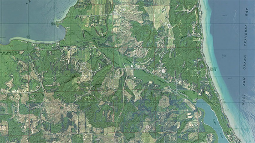 Map of Michigan's Leelanau Peninsula.
