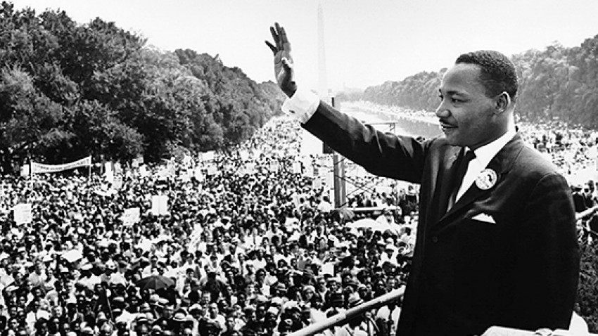 Photo of Martin Luther King Jr. on the national mall.