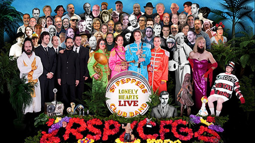 Photo of a variation on the Sgt. Pepper's Lonely Hearts Club Band album cover.